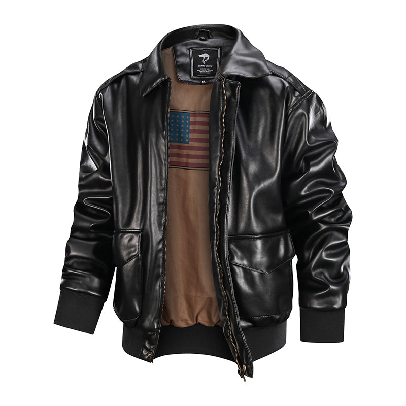 Men's A2 Bomber Moto Jacket Black
