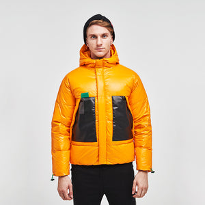 Men's Collision Color Puffer Down Jacket Yellow