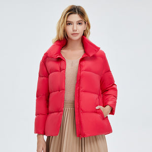 Women's  Colorful Down Puffer Jacket Red