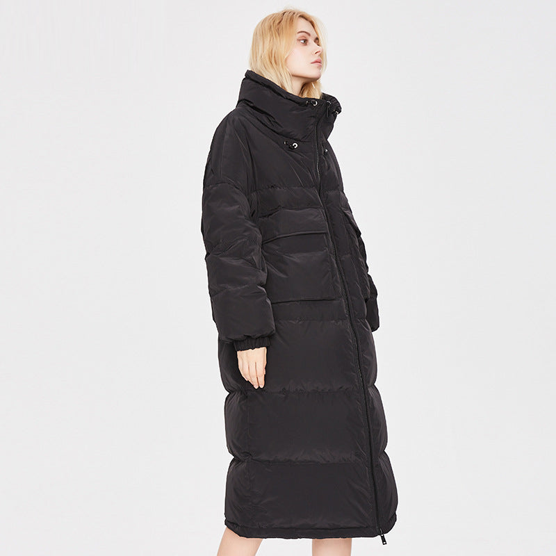 Women's Thicker Knee-length Down Jacket Black