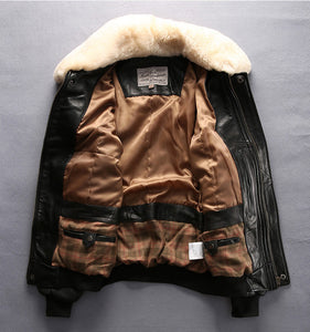 A2 Mens Sheepskin Bomber Jacket Black