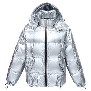 Women's Mid-Length Loose and Thick Down Jacket Silver