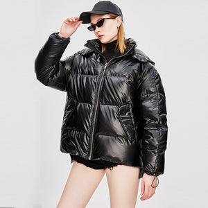 Women's Mid-Length Loose and Thick Down Jacket Black