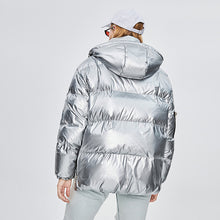 Load image into Gallery viewer, Barcelona Women's Mid-Length Hooded Loose and Thick Down Jacket Silver
