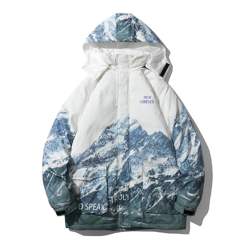 Men's Printed Down Jacket Snowy Mountain