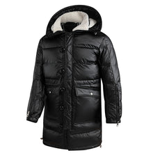 Load image into Gallery viewer, Mens Black Shiny Puffer Jacket Black