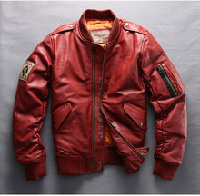 Load image into Gallery viewer, Men's Luxury Sheepskin Leather Down jacket Red