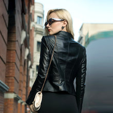 Load image into Gallery viewer, Women's Leather Bike Jacket Black