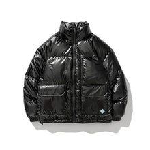 Load image into Gallery viewer, Winter Metallic Handsome Short Down Jacket Casual Shiny Trendy Jacket Black