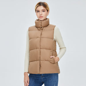 Women's Colourful Style Down Vest Khaki