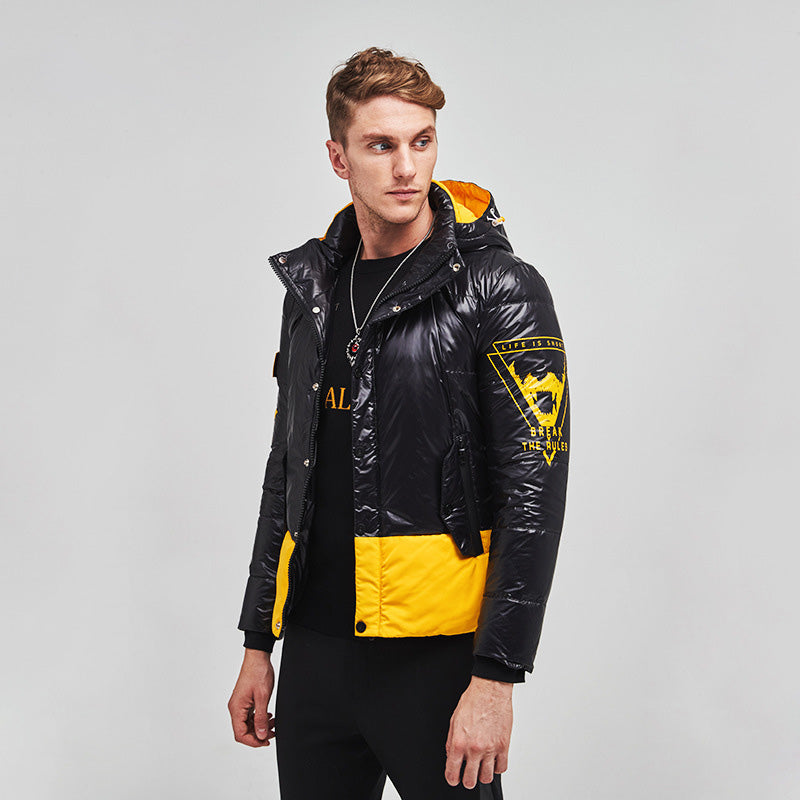 Men's Cyberpunk Hooded Down Puffer Jacket Yellow