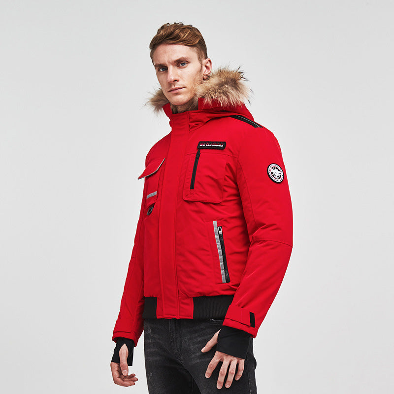 Men's Luxury Fur Collar Parker Down Jacket Red