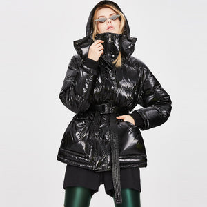 Milano Women's Thicker Metallic Mid-Length Waist-Length Warm Down Jacket Black
