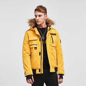 Edinburgh Men's Multi-pocketed Parker Down Jacket Yellow