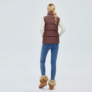 Women's Colourful Style Down Vest Brown