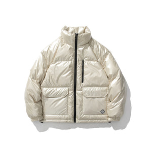 Winter Metallic Handsome Short Down Jacket Casual Shiny Trendy Jacket White