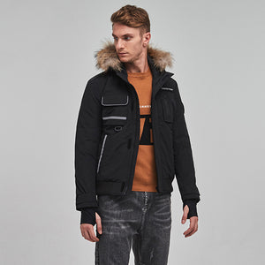 Men's Luxury Fur Collar Parker Down Jacket Black