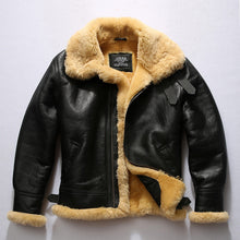 Load image into Gallery viewer, Mens B3 Bomber Sheepskin Shearling Jacket Black