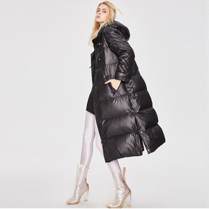 Glasgow Women's Metallic Thicker White Duck Down Longer Down Jacket Black