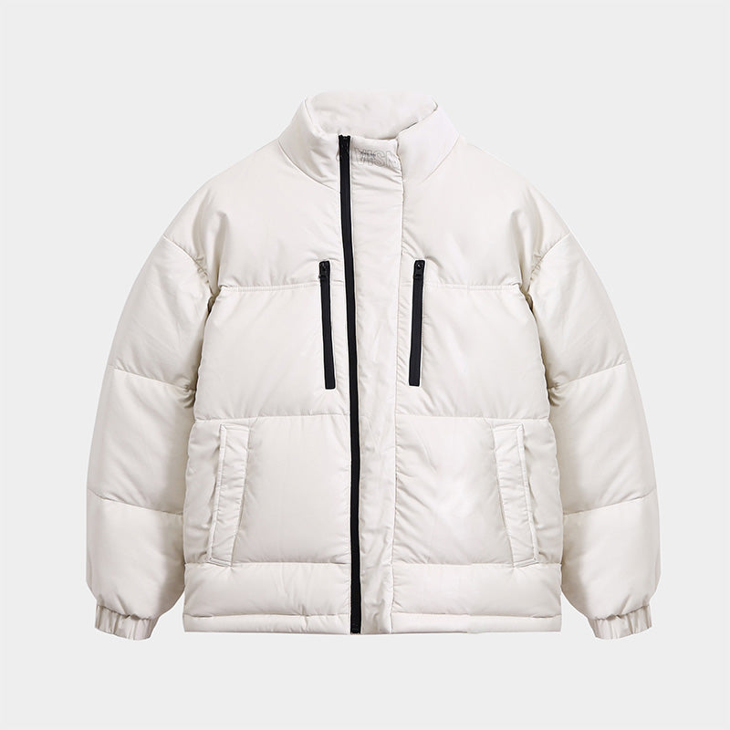Manchester Artificial Leather Puffer Down Jacket Pearl White