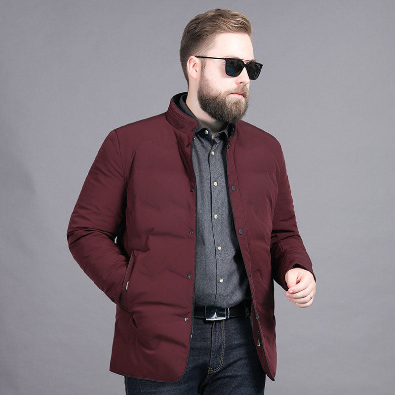 Men's Big And Tall Business Style Warm Down Jacket Red