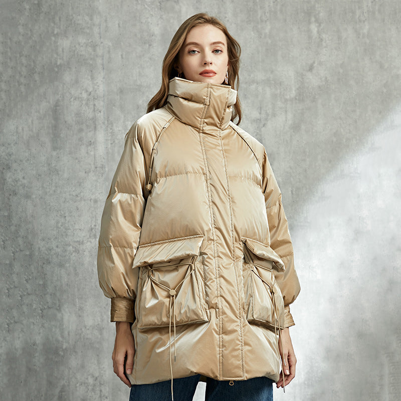 Womens Thick Goose Down Jacket Taffy