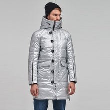 Load image into Gallery viewer, Mens Black Shiny Puffer Jacket Silver