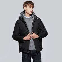 Load image into Gallery viewer, Men's Windproof Hooded Down Jacket Black
