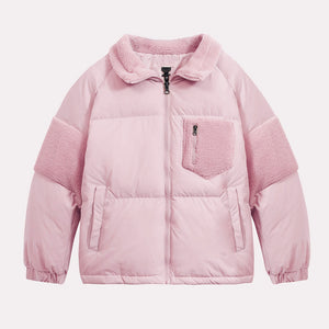 Men's Patchwork Lambswool Puffer Down Jacket Pink