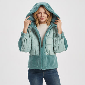 Womens Fleece Puffer Jacket Green