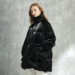Womens Thick Goose Down Jacket Black