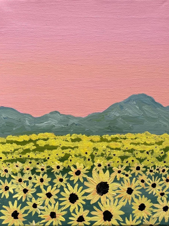 Step by Step Sunflower Field Painting Tutorial