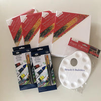 Art Kits with canvases, paints, paint brushes and paint palette