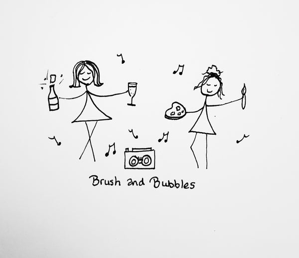 cartoon of two girls dancing to music whilst holding paint supplies
