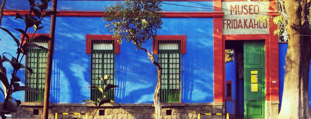 blue building with plants outside