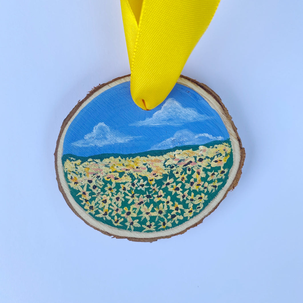 Mini Wooden Painting - Sunflower Field