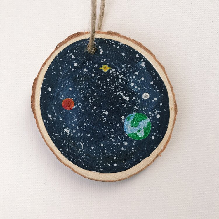Mini Wooden Painting  - Planets among the stars