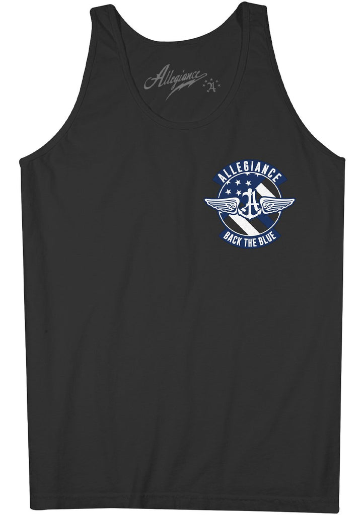 Allegiance Alle. Back The Blue Badge Back Hit Tank Top