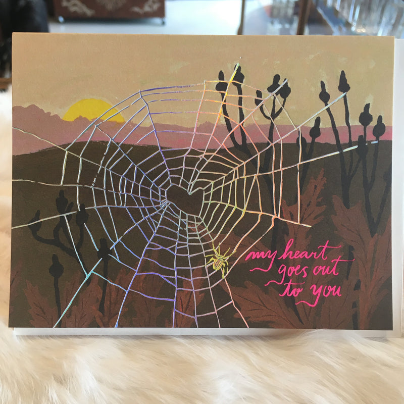 Spider Web Heart Greeting Card