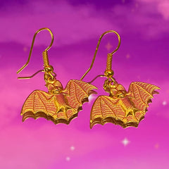 Small Brass Bat Earring 1""