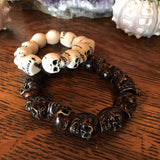 Brown Skull Bead Bracelet