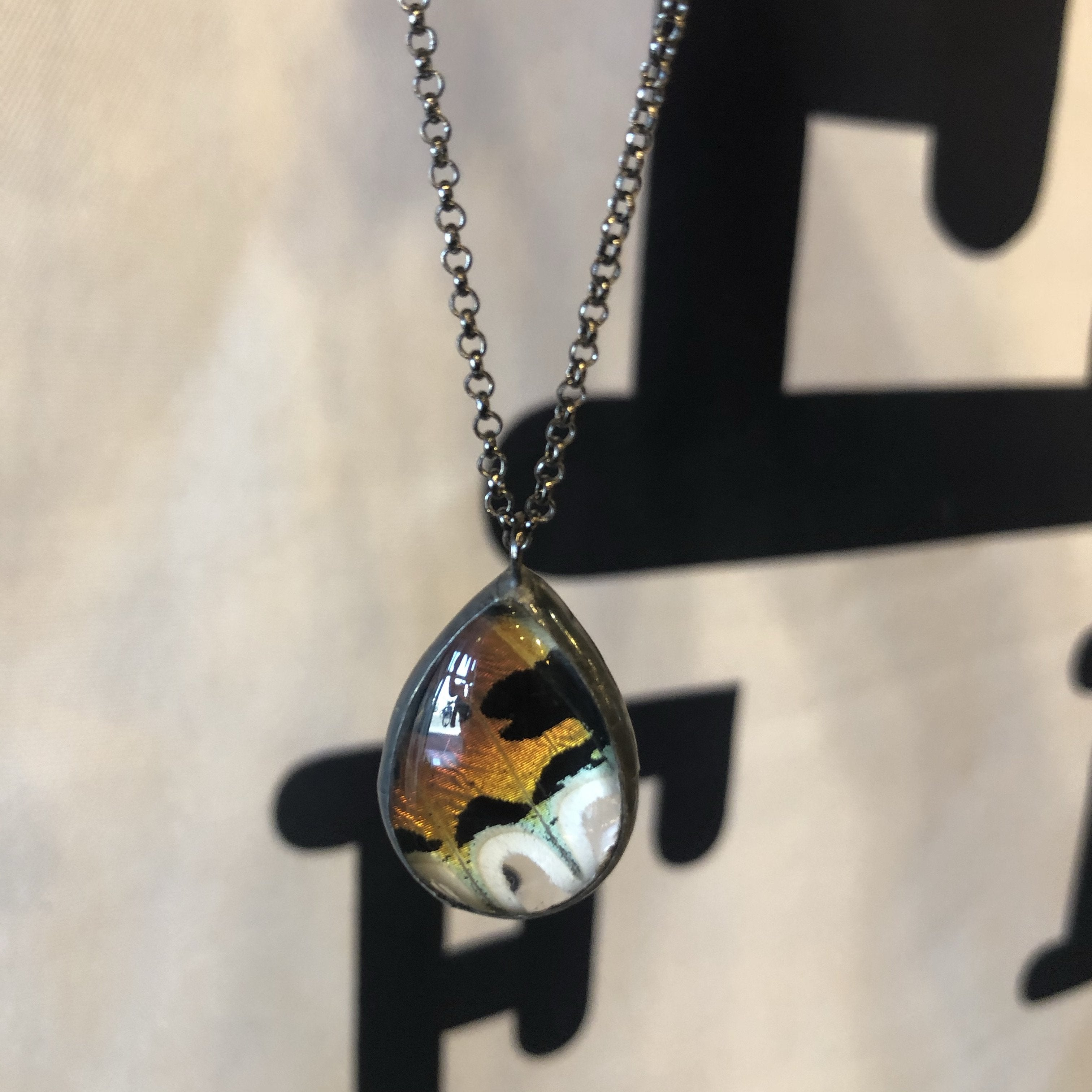 Sunset Moth Teardrop Necklace