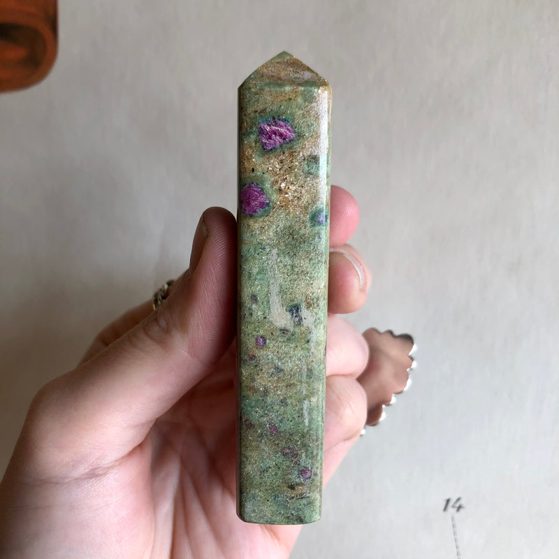 4 Faceted Ruby Zoisite Point