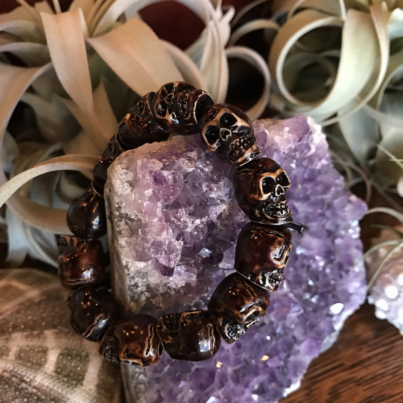 Brown Skull Bead Bracelet - Curious Nature