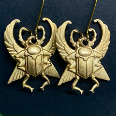 Brass Egyptian Scarab Earrings