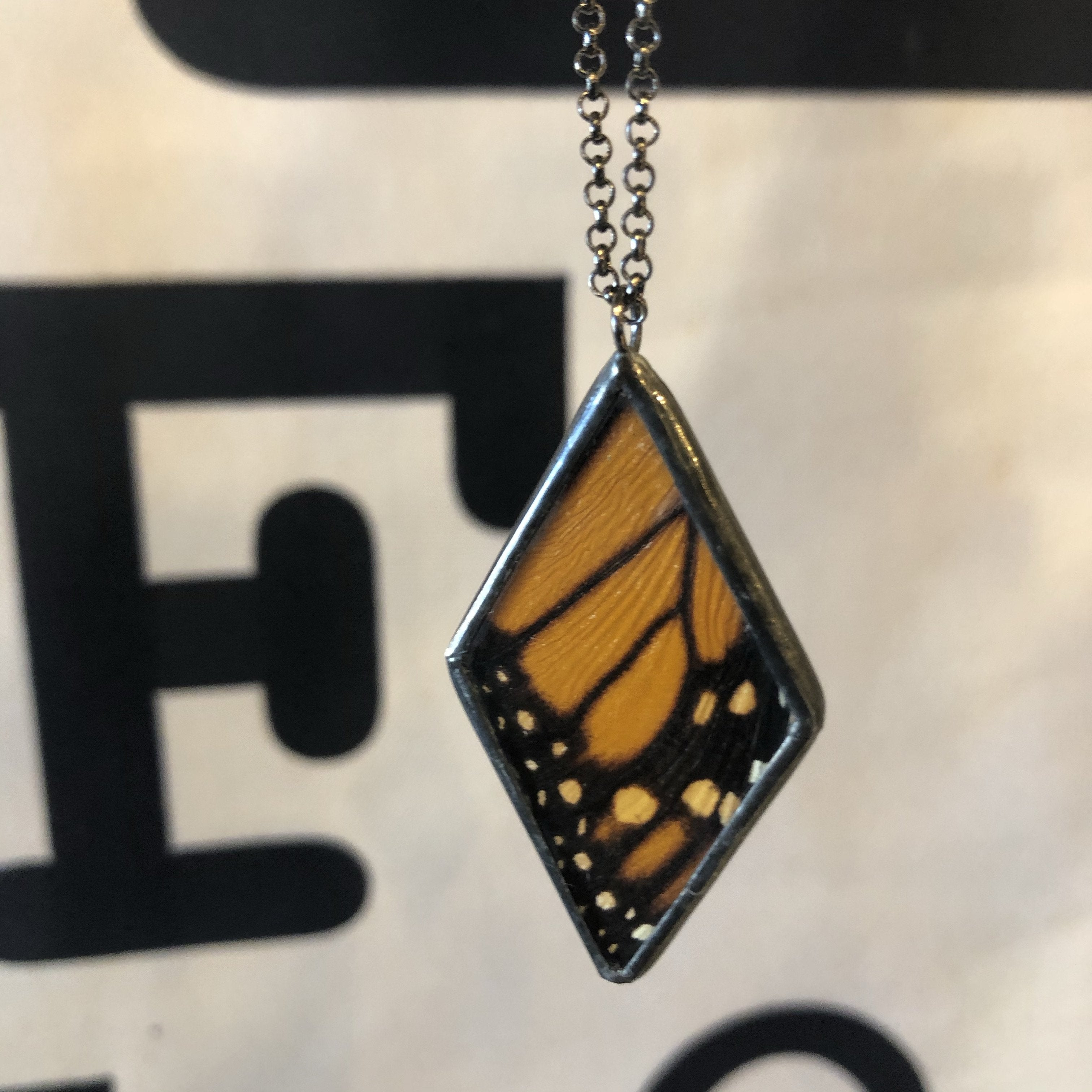 Monarch Butterfly Large Diamond Necklace