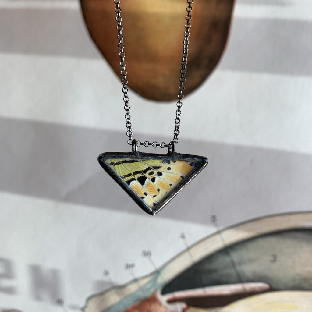 Yellow Green Swordtail Butterfly Triangle Necklace