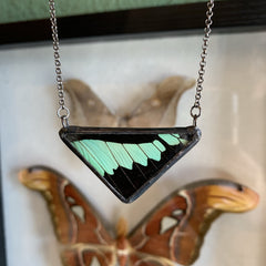 Apple Green Swallowtail Triangle Necklace