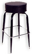 Bar Stool Indoor Swivel Seat black vinyl on black frame - Tamirson