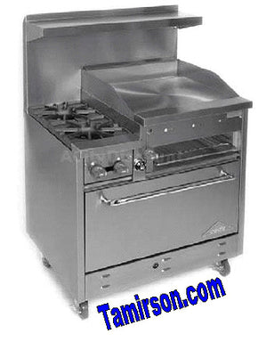 Range gas 36 inch wide with 2 burners and 24 inch griddle - Tamirson
